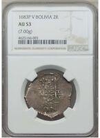 Bolivia Cob 1683 P-V 2 Reales NGC AU53 Charles II Potosi Mint - Scarce !!