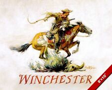 WESTERN COWBOY RIDING HORSE WITH WINCHESTER RIFLE PAINTING REAL CANVASART PRINT