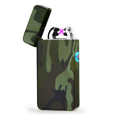 USB Electric Dual Arc Camo Metal Flameless Torch Rechargeable Windproof Lighter