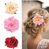 Big Blooming Rose Flower Wedding Bridal Hair Clip headpiece Brooch Pin Pop..