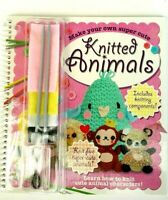 Hinkler Kids DIY Book Make Your Own Knitted Animals Sheep Bunny Panda Monkey New