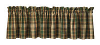 New Country Rustic Cabin Lodge SCOTCH PINE GREEN PLAID Valance Curtains