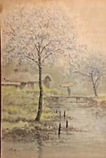 Rare Circa 1920s S. Tosuke Japanese Watercolor Painting Cherry Blossom Landscape