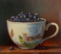 """Blueberries In BoB"" NOAH VERRIER Still life oil painting, Signed art print"