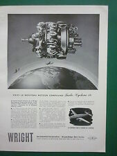 1/1949 PUB WRIGHT AERONAUTICAL MOTEUR TURBO CYCLONE 18 ENGINE FRENCH AD