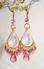 Pink Topaz Pink Quartz Briolette Gemstone Chandelier Earrings Vermeil Sterling