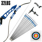 Recurve Bow Set 32LBS Archery Bow Arrow 12PCS Adults Youth Shooting Practice