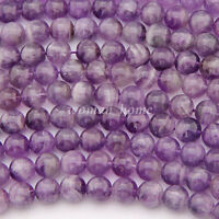 Hot Wholesale Natural Amethyst Gemstone Round Loose Beads 4mm 6mm 8mm 10mm 12mm