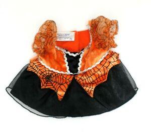 Build A Bear Halloween Witch Dress Clothing Orange Black Spider Web Cobweb Puffy