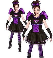Batty Bat Ballerina Girls Vampire Fancy Dress Kids Halloween Kids Outfit + Wings