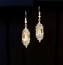 """IAJ"" STERLING SILVER Earrings w/ SWAROVSKI CRYSTAL AURORA BOREALIS CUBES"