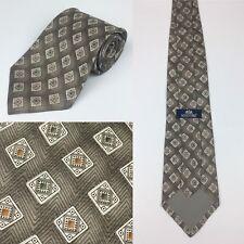"Stafford 58"" Olive Green Orange Ivory Geometric Diamond Designer Necktie Tie"