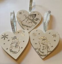 Snowman Christmas Decorations X 3 Handmade Shabby Chic Wood Silver
