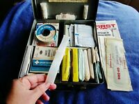 Pennsylvania Railroad First Aid Kit Vintage Prr Train Box Unused, 55 Pcs