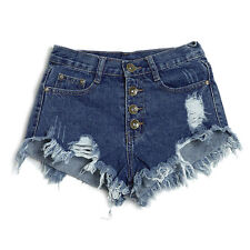 Sexy Women's High Waisted Short Jeans Lady Washed Ripped Hole Denim Pants Shorts