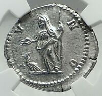JULIA DOMNA Authentic Ancient 296AD Silver Roman Coin JUNO PEACOCK NGC i79643