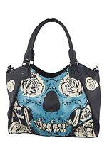Banned Apparel Blue Skull Floral Rose Punk Goth Ink Tattoo Handbag Purse BBN796