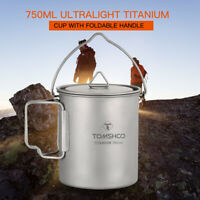TOMSHOO 750ml Portable Titanium Pot Water Mug Cup Outdoor Camping Cooking H3Y3