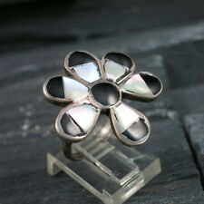 Indian Sterling Silver 925 MOP Mother Of Pearl Black Onyx Flower Ring Size 6