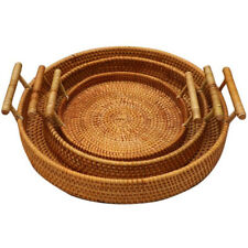 Rattan Bread Basket Handmade Round Woven Tea Tray W/ Handles For Serving Dinner