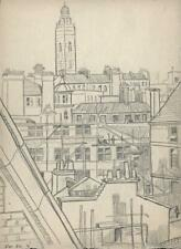 WESTMINSTER CATHEDRAL & ROOFTOPS LONDON Pencil Drawing - c1950