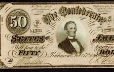 Cs-66. $50 1864 ( Choice Uncirculated ) Confederate Currency ( High Grade )