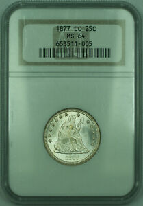 1877-CC Seated Liberty Silver Quarter 25c Lustrous NGC MS-64 Repunched Date