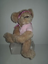 """New! Large """"Hugging"""" Super Plush Bear with Pink Headscarf and Pink Polo Shirt"""