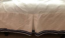 Pottery Barn Kids Toddler Bed Skirt Tailored White Navy Blue Trim Organic Cotton