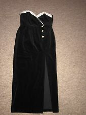 vintage black white velvet sweetheart strapless cocktail dress pearl buttons