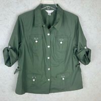 Christopher & Banks Green Button Up Utility Top Size Large