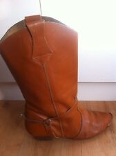 Ladies Vintage Tan Leather Cowboy Boots AUS Size 5 EU 36 Brown Silver Spurs Tips
