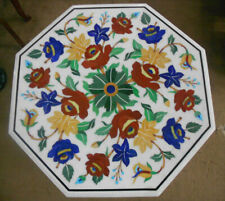 Marble Top Coffee Table Pietra Dura Rare Inlay Antique Mosaic Victorian AZ5916