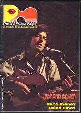 LEONARD COHEN PAROLES ET MUSIQUE numéro 33 OCTOBRE 1983 + PACO IBANEZ