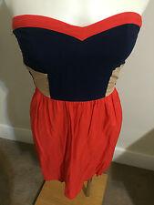Free Fusion Orange Blue Camel Boob Tube Strapless Mini Summer Dress Sweet Heart