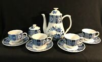 LIPPER & MANN BLUE IMARI 12 PIECE COFFEE/TEA SET W/ SUGAR BOWL 4 CUPS & SAUCERS