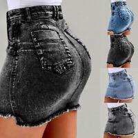 Women Washed Frayed Mid Waist Jean Denim Bodycon Summer Short Mini Skirt UK