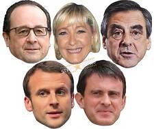 I politici francesi 2d Card Party Face Mask 5 confezione con le Pen VALLS HOLLANDE