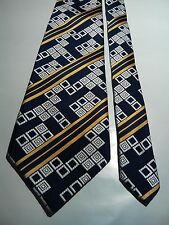 Boston Men's Vintage Tie in Navy Blue and Silver Retro Print with Gold Stripe