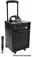 Pyle Pro 600 Watt VHF Wireless Portable PA Speaker System/Echo W/ MIC iPod Dock