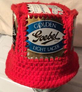Vintage Beer Can cap Red Bucket Hat Crochet Knit Retro Handmade HIPSTER