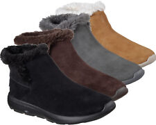 Womens Skechers Ankle Boots Fur Lined Suede Slip On Memory Foam Leather