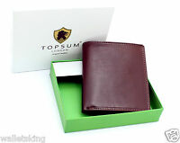 Mens Designer TOPSUM Genuine Top Grain Leather Billfold Wallet Purse 4010 Brown
