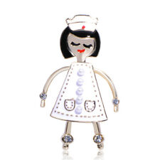 Cute White Enamel Nurse Brooches Crystal Gold Plated Brooch Pin Lady Gift Party