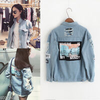 Womens Oversized Boyfriend Style Vintage Ripped Denim Jeans Jacket Coat Tops NEW