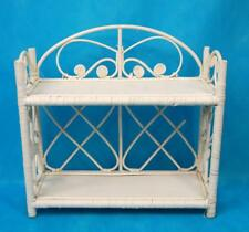 VINTAGE WHITE WICKER BATHROOM SHELF