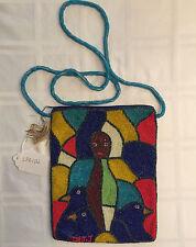HANDBAG Shoulder POUCH bag hand beaded Art by Jean Baptiste Jean Joseph NWT