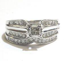 10k white gold princess invisible set diamond engagement ring wedding band 3.2g