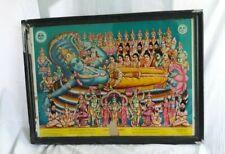 All Hindu God With Lord Vishnu Ananthasyanam Antique VTG Old Paper Print F29