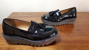 FLY London Slip On Loafer Shoes Size 4 Tassel Black Excellent (K12)